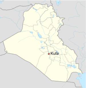 Localización de Kufa en Irak