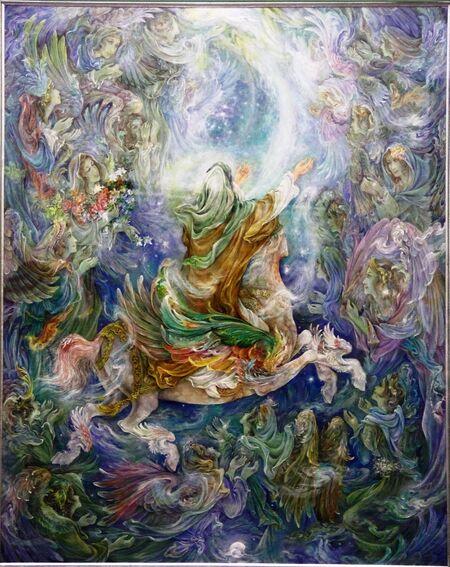 تابلوی معراج پیامبر فرشچیان- اهدایی به موزه آستان قدس رضوی.jpg