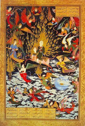 نگاره معراج پیامبر (ص) در کتاب خمسه نظامی در قرن شانزدهم.jpg