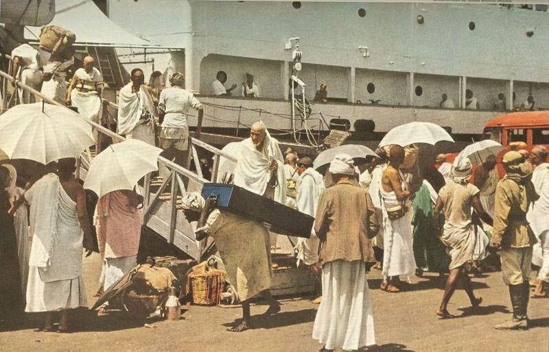 Berkas:ورود حجاج به عربستان با کشتی (۱۹۵۳میلادی).jpg