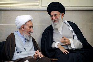 تصویر آیتالله یحیی انصاری شیرازی در کنار آیتالله سید علی خامنهای