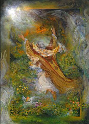 لوحة إبراهيم في النار، بريشة فرشجيان